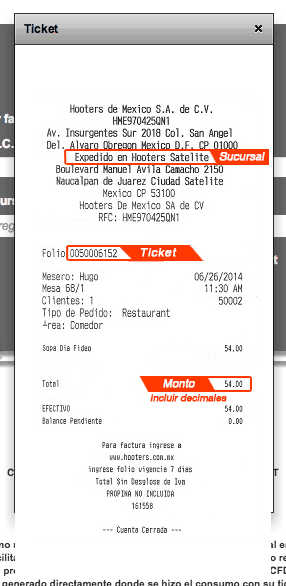 HOOTERS FACTURACION TICKET