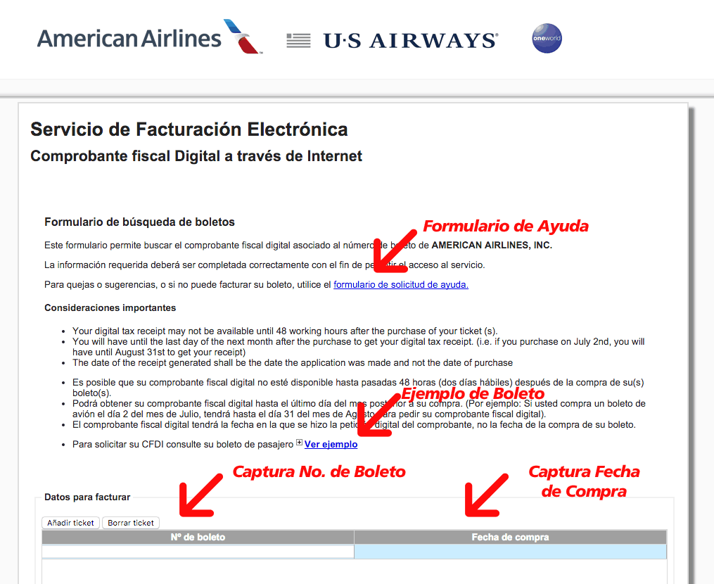 AMERICAN AIRLINES FACTURACIÓN