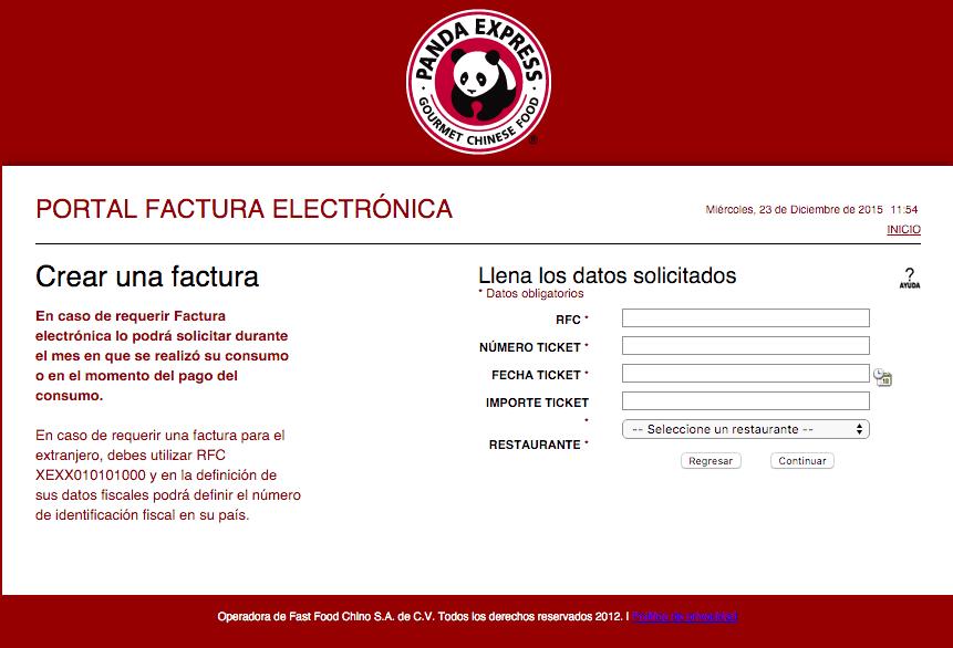 Panda Express Facturacion 0