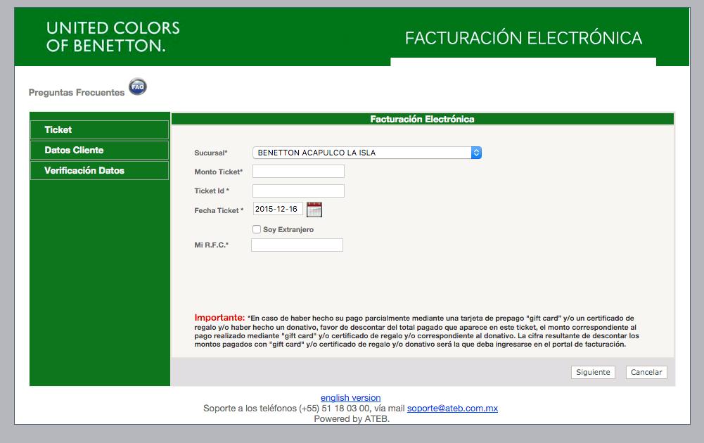 United Colors of Benetton Facturacion 0