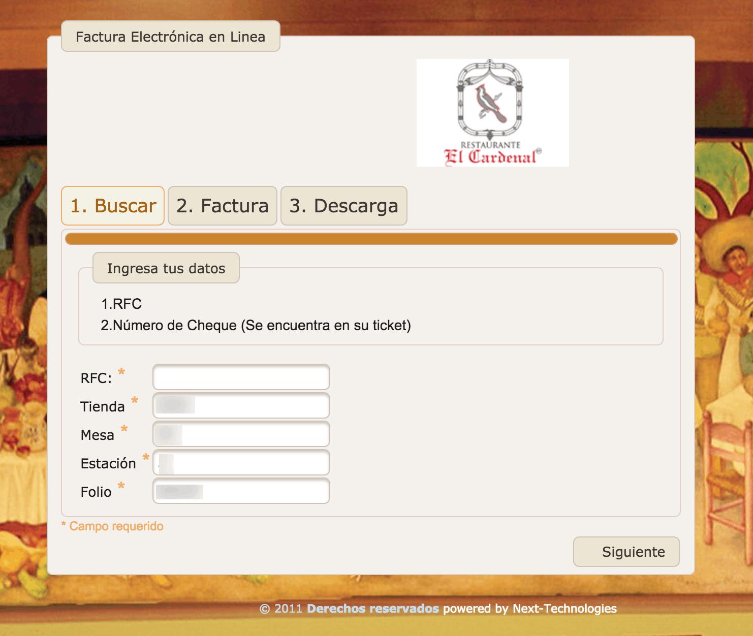 RESTAURANTE EL CARDENAL FACTURACION 0