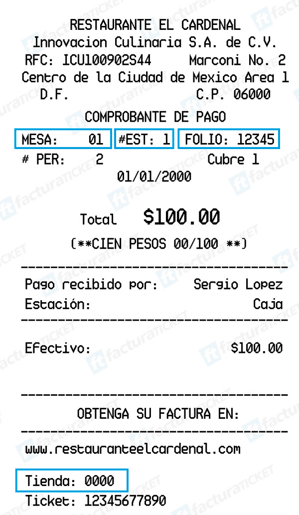 Ticket El Cardenal Facturacion