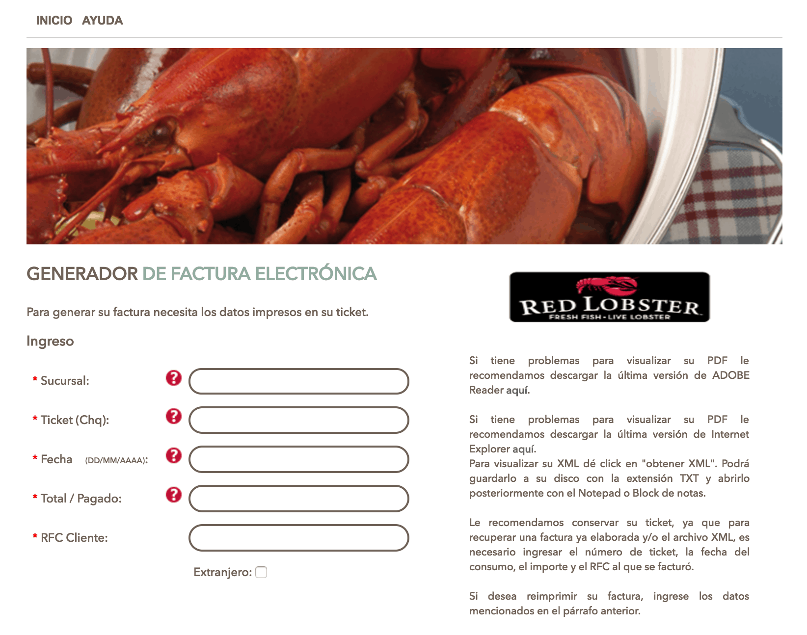 RED LOBSTER FACTURACION
